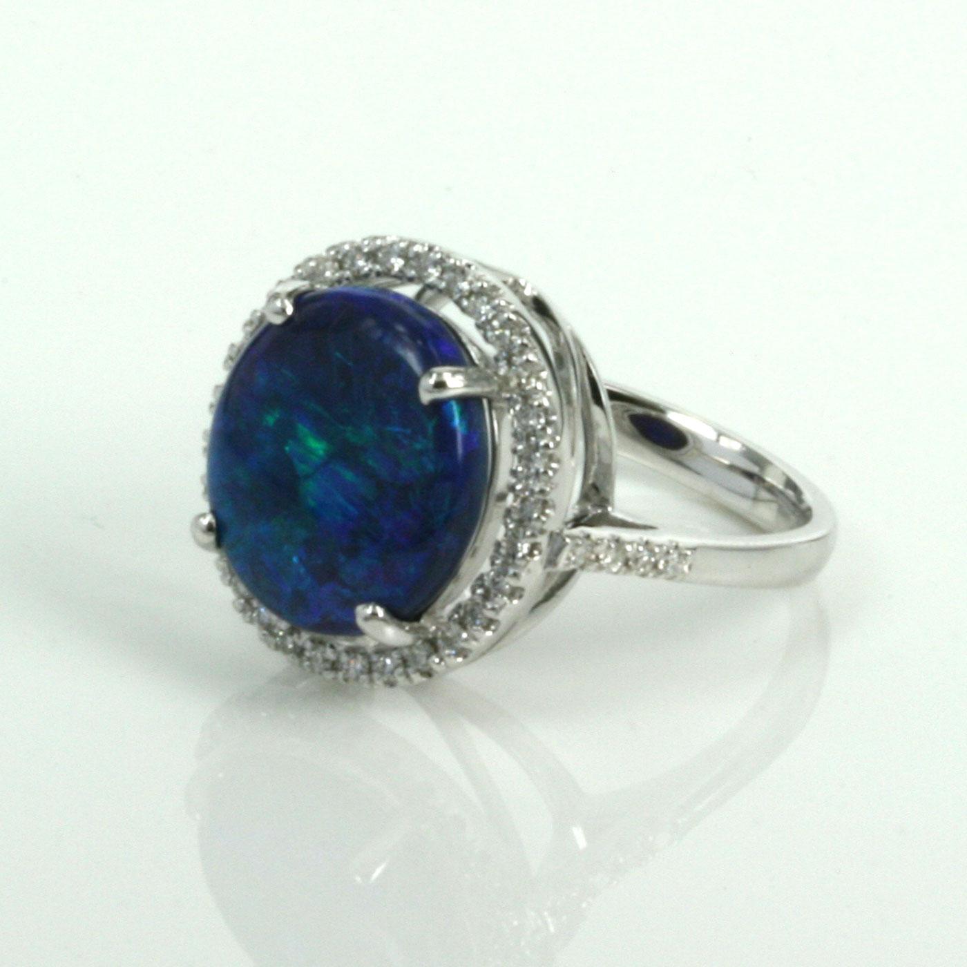 Buy 5 Carat Lightning Ridge Black Opal And Diamond Ring