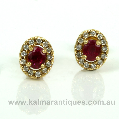 18ct Burmese ruby and diamond earrings