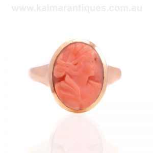 Beautiful antique cameo ring made in Birmingham in 1917