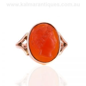 9 carat rose gold antique carnelian cameo ring made in the early 1900's