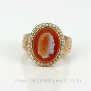 Antique hard stone cameo ring with pearls