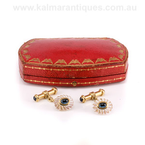18ct Cartier cufflinks with rock crystal and sapphire