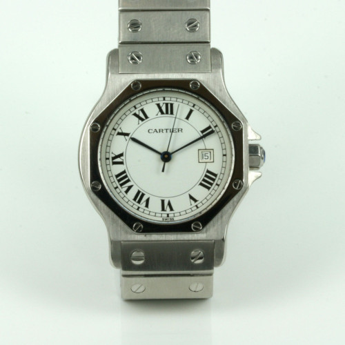 Automatic Cartier Santos watch in steel