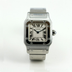 Elegant Cartier Santos watch in steel.