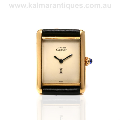 Cartier tank watch sterling silver gold plated