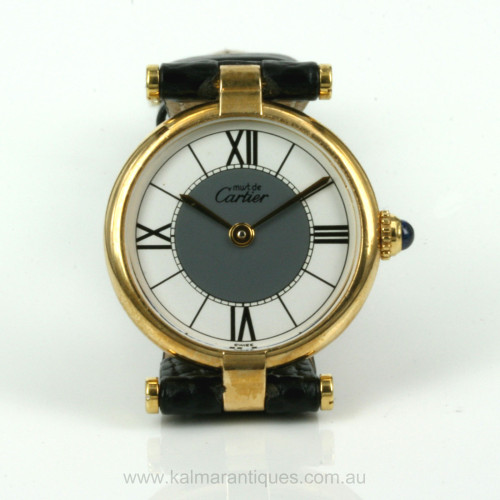 Elegant Must de Cartier watch with 2-tone dial