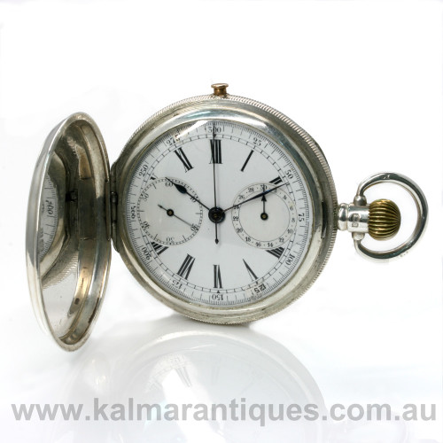 Antique sterling silver chronograph pocket watch