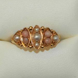 18ct coral and pearl ring.