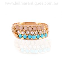 Antique coral, pearl and turquoise ring made in 1880