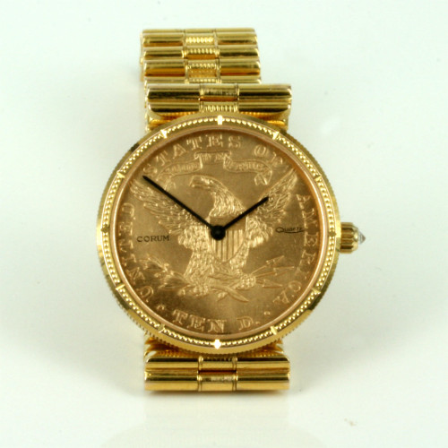 $10 Corum coin watch with diamond bezel