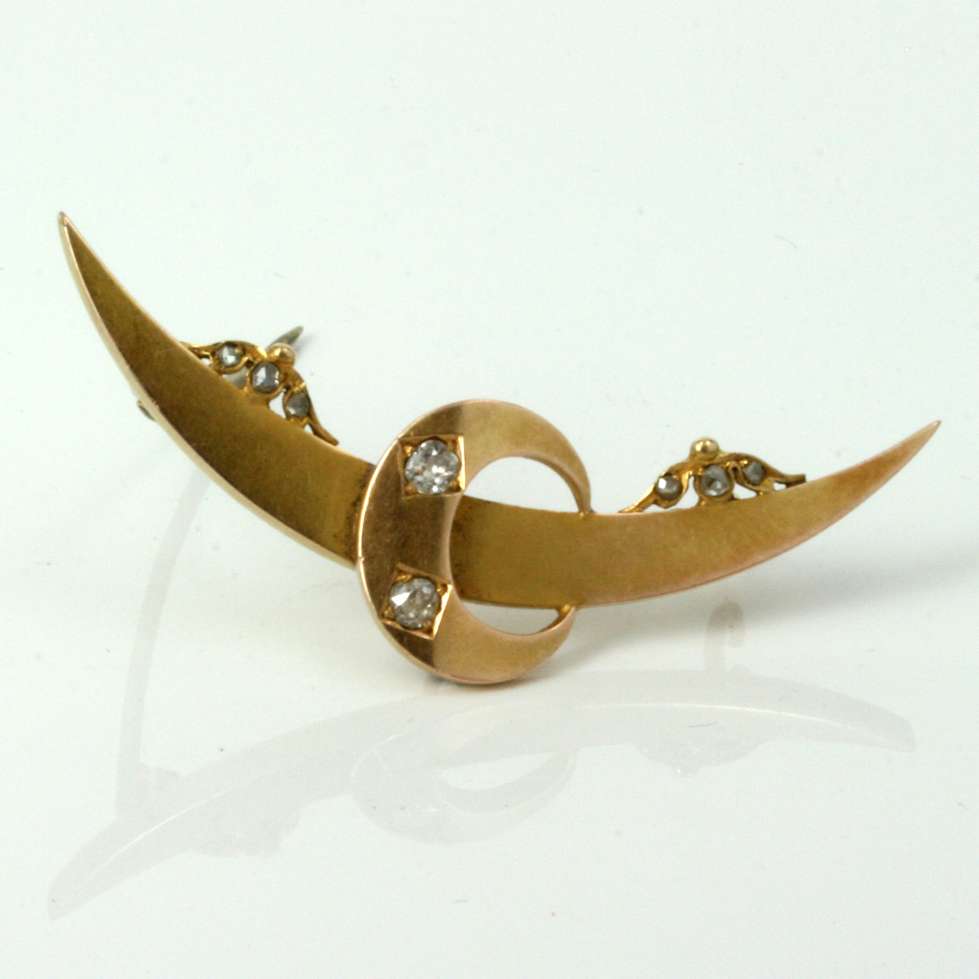 Antique 15ct gold diamond crescent brooch.