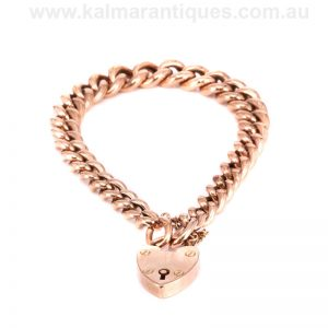 Antique rose gold graduated curb link bracelet made in the early 1900's