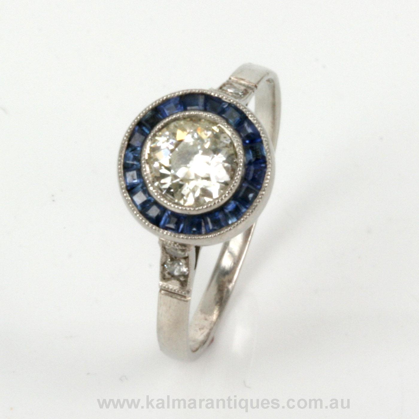buy sapphire diamond art deco engagement ring sold. Black Bedroom Furniture Sets. Home Design Ideas