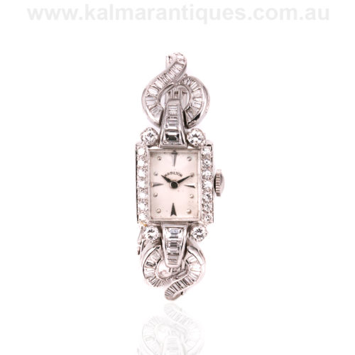 Vintage diamond Hamilton cocktail platinum watch