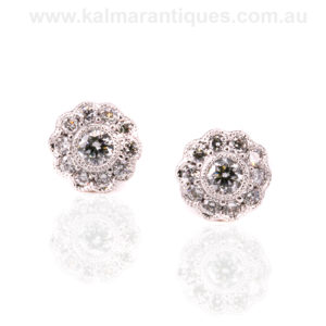Elegant 18ct white gold diamond cluster earrings
