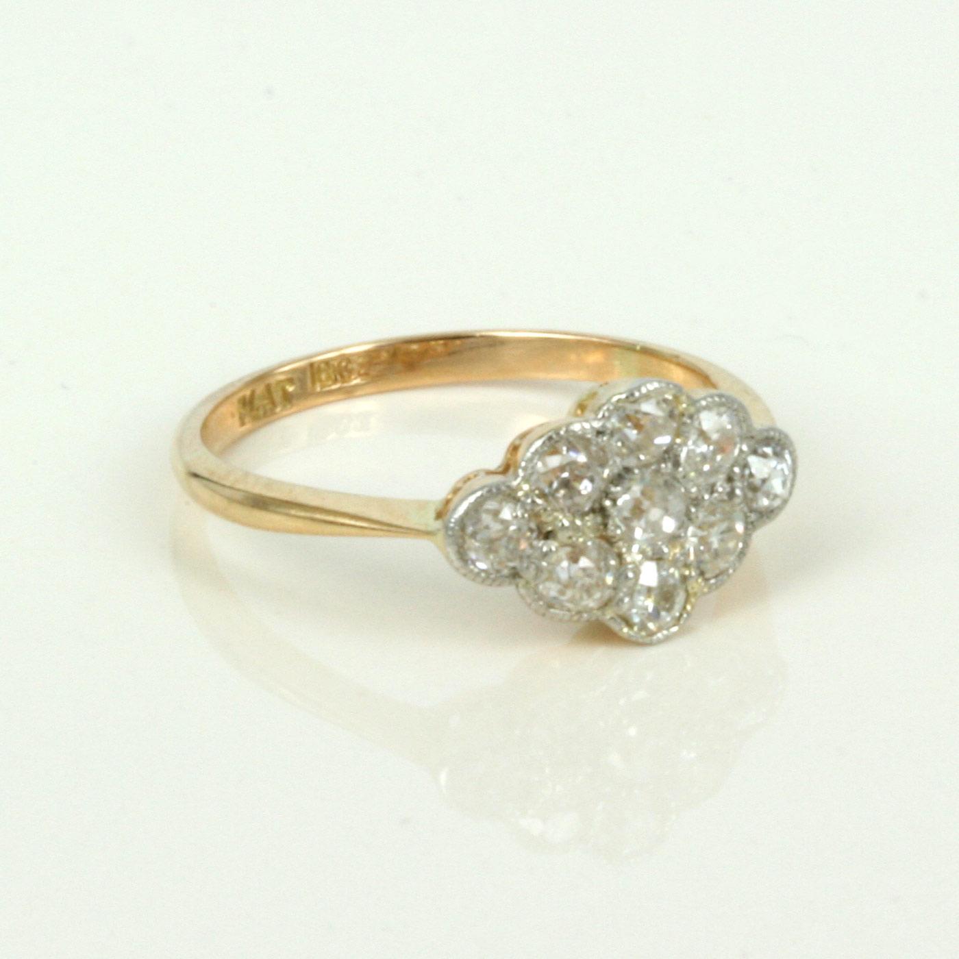 Antique Diamond Fancy Daisy Ring