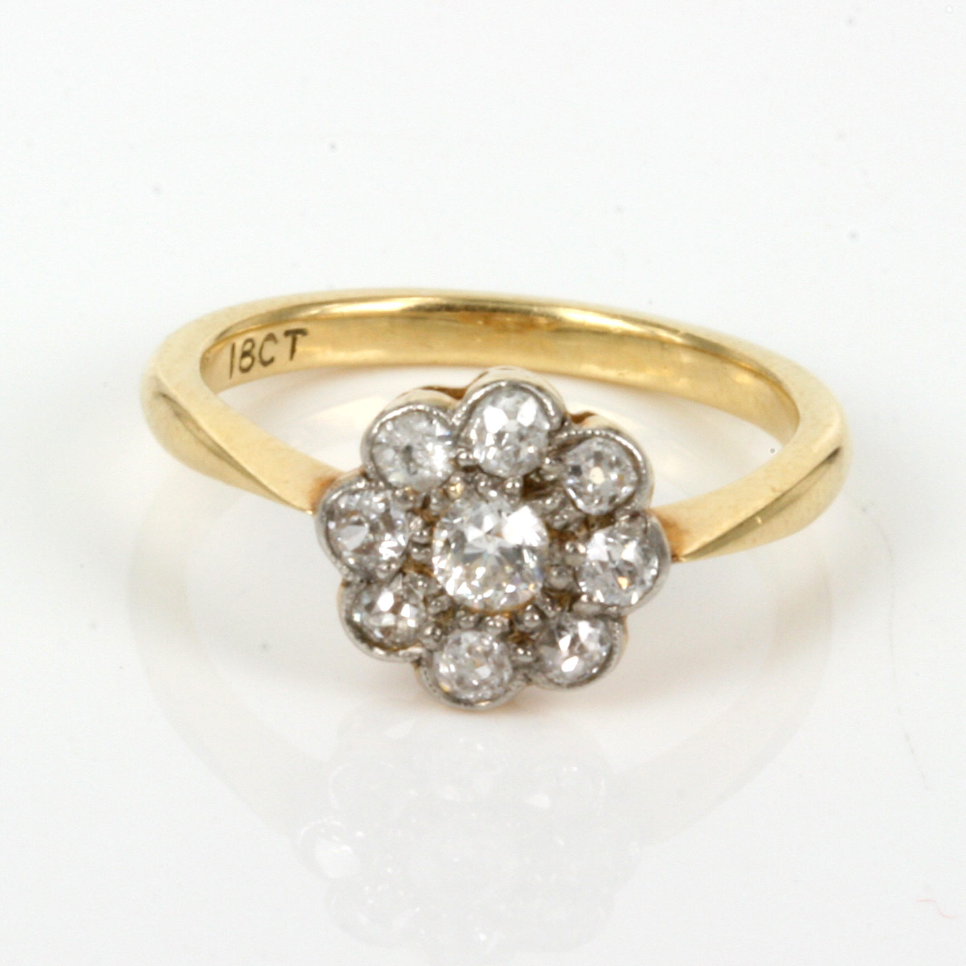 Antique Diamond Cluster Ring With 9 Diamonds