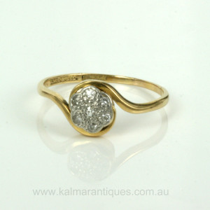 Antique 18ct & platinum diamond cluster ring
