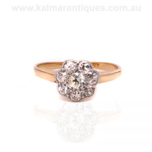 18ct yellow gold diamond cluster ring from the 1930's