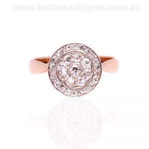 15ct rose gold and platinum Art Deco diamond cluster ring