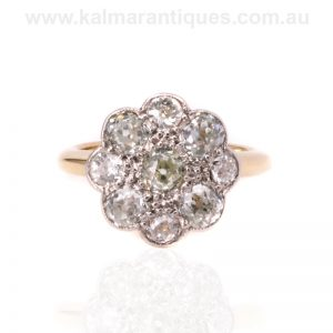 Antique diamond cluster ring with fancy colour diamonds