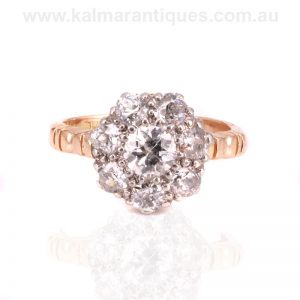 Antique diamond cluster ring hand made in the early 1900's