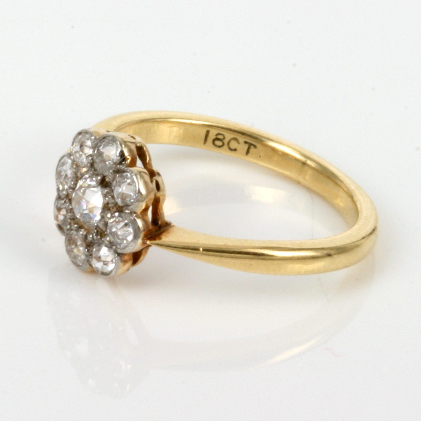Diamond Cluster Engagement Ring Yellow Gold