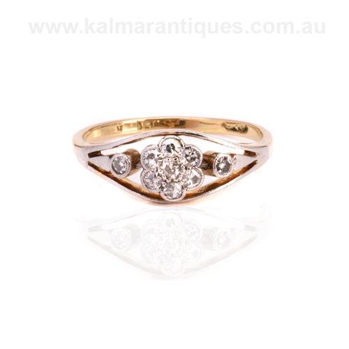 Unique Art Deco diamond cluster engagement ring