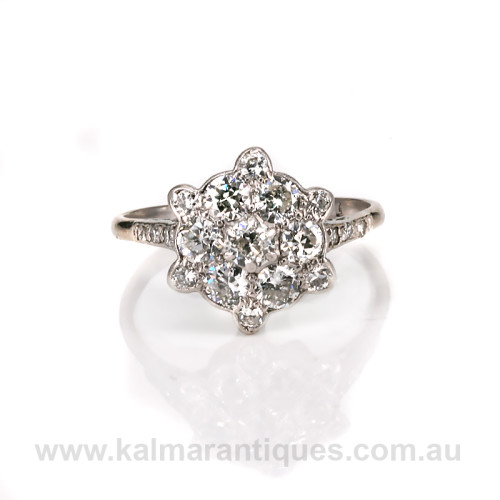 Art Deco diamond cluster engagement ring