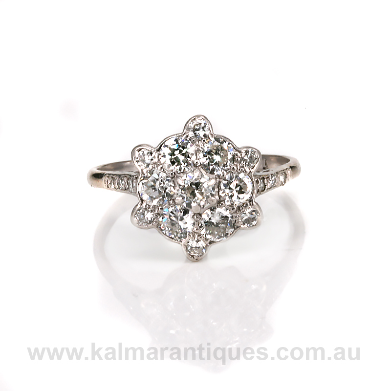 art deco diamond cluster engagement ring With diamond cluster wedding rings