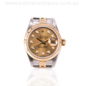Ladies diamond dial gold and steel Rolex Datejust reference 79173