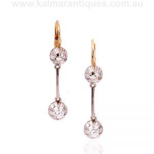 Art Deco diamond drop earrings made in the 1930's