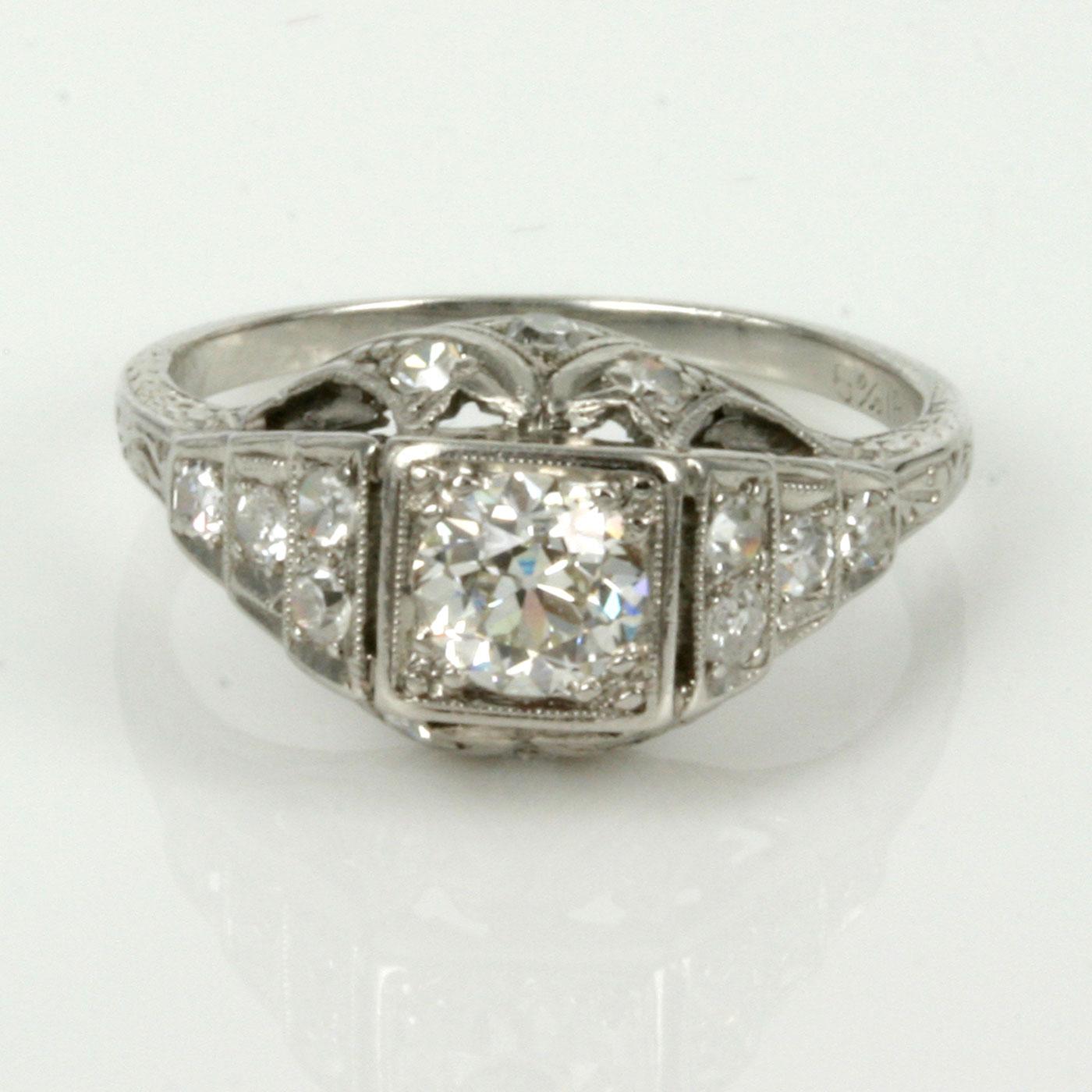 buy 1920 era art deco diamond engagement ring. sold items, sold