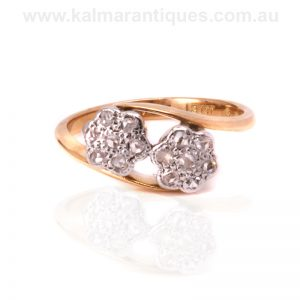 Charming double cluster diamond ring dating from the 1920's