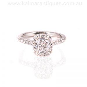Platinum D colour cushion cut diamond engagement ring