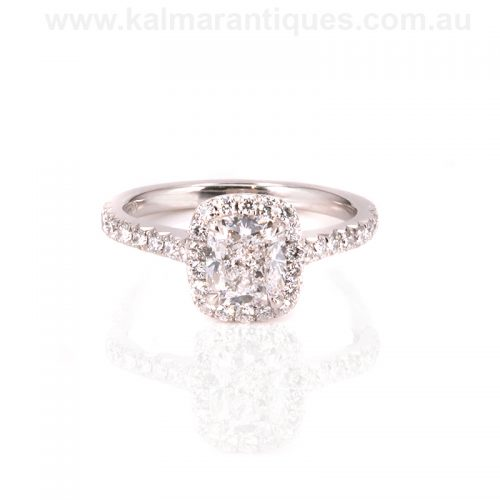 Platinum D colour cushion cut diamond engagement ring