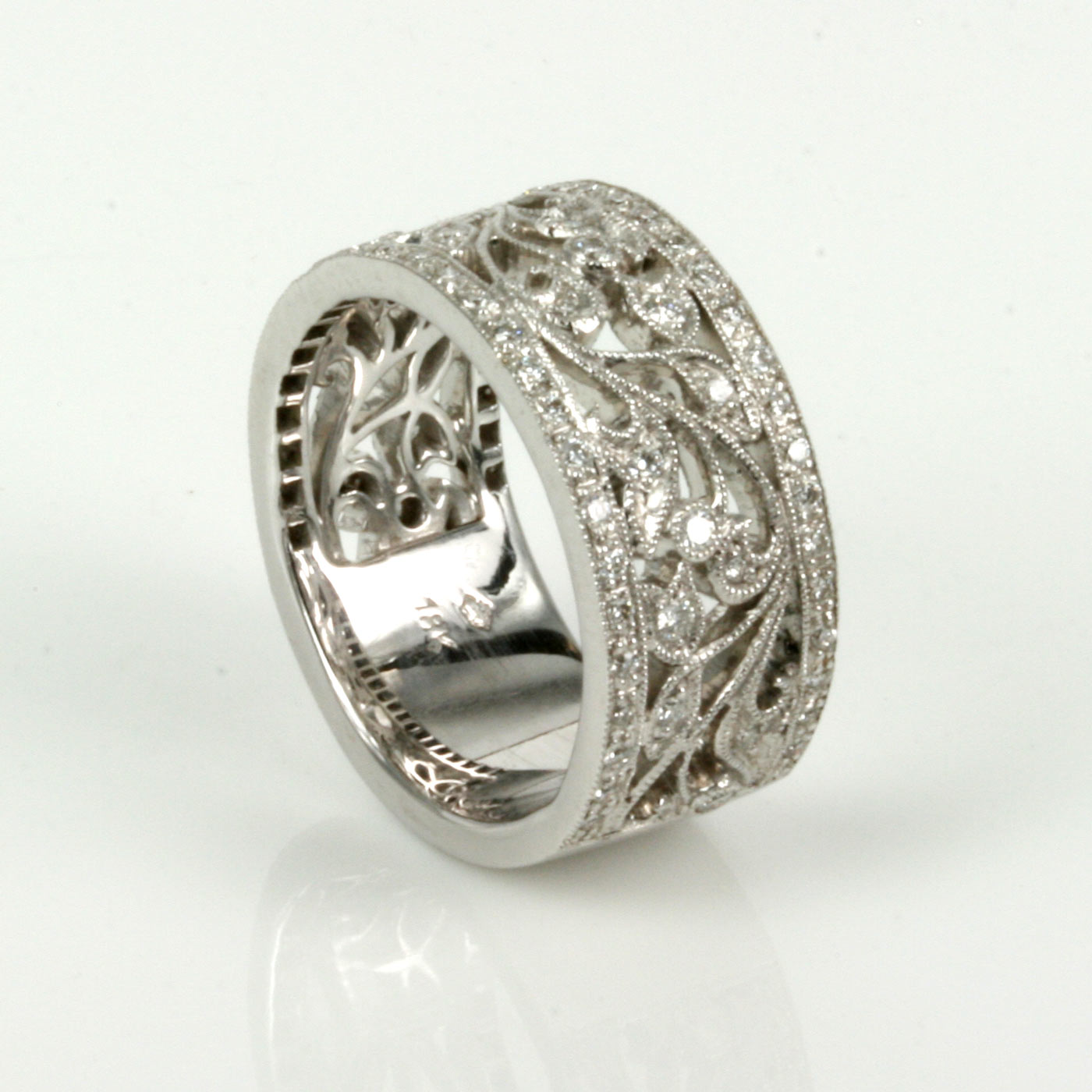 Buy 18ct White Gold Filigree Ring With 73 Diamonds Sold