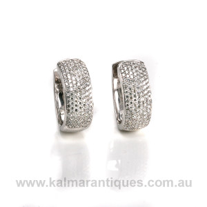 18ct white gold diamond huggie earrings