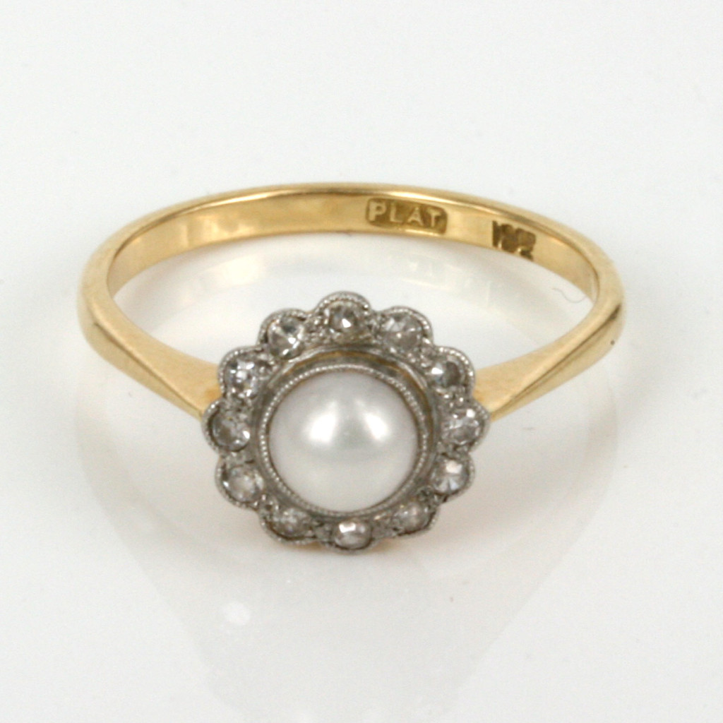 Diamond And Pearl Engagement Rings: Antique Pearl And Diamond Ring In 18ct Gold And Platinum