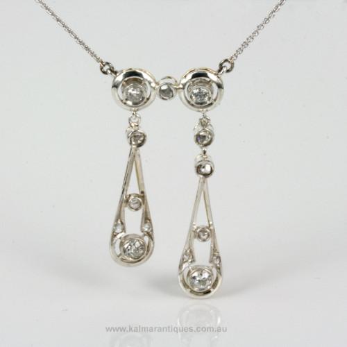 18ct & platinum Art Deco diamond negligee pendant.