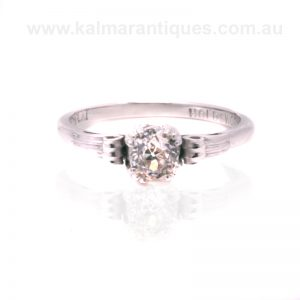 18 carat and platinum engagement ring set with a European cut diamond