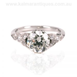 Handmade diamond engagement ring set with antique diamonds