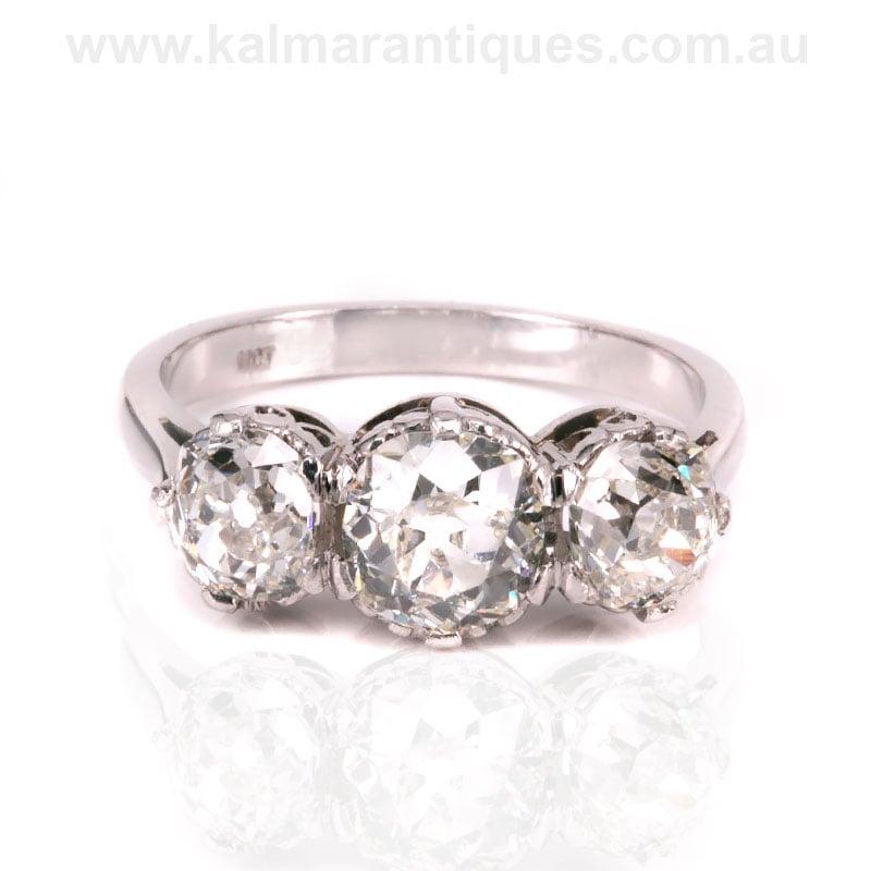 3 Stone Diamond Engagement Ring Set With Antique Cut Diamonds