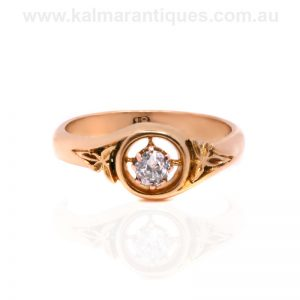 Edwardian era antique diamond ring with fancy sides