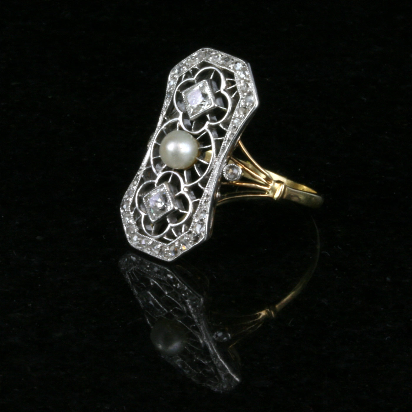 Platinum And Gold Art Deco 1920 S Era Diamond And Pearl Ring