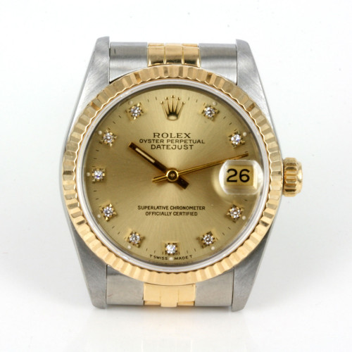 18ct & steel Midsize diamond dial Rolex 68273g
