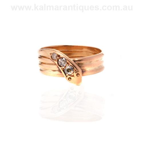 Antique diamond snake ring