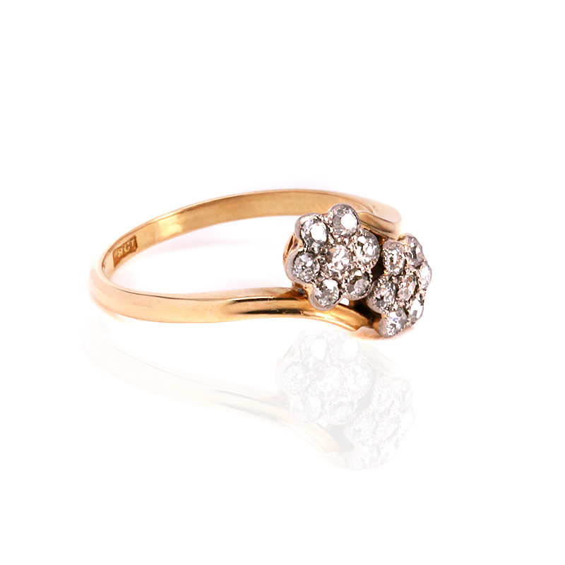 Double Gold Platinum: 18ct Gold And Platinum Art Deco Double Cluster Diamond Ring