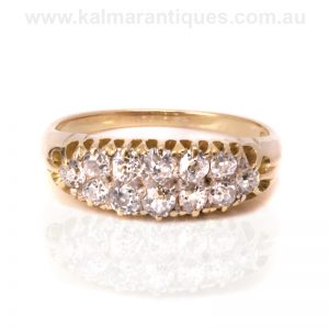 Unique 18ct gold double row antique diamond ring