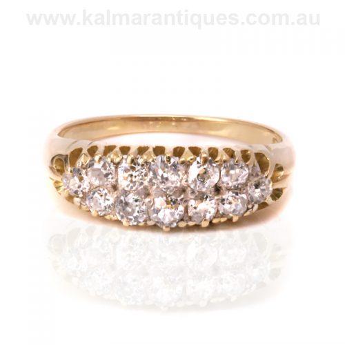 Unique 18ct gold double row antique diamond ring